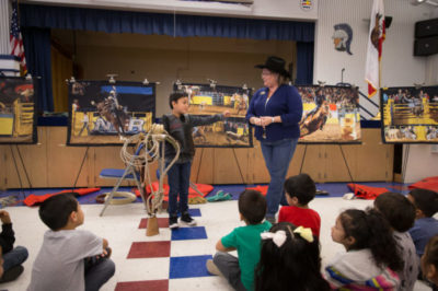 T-K 3rd grader, Alfonso Duran, demonstrates how to be a rodeo bull rider